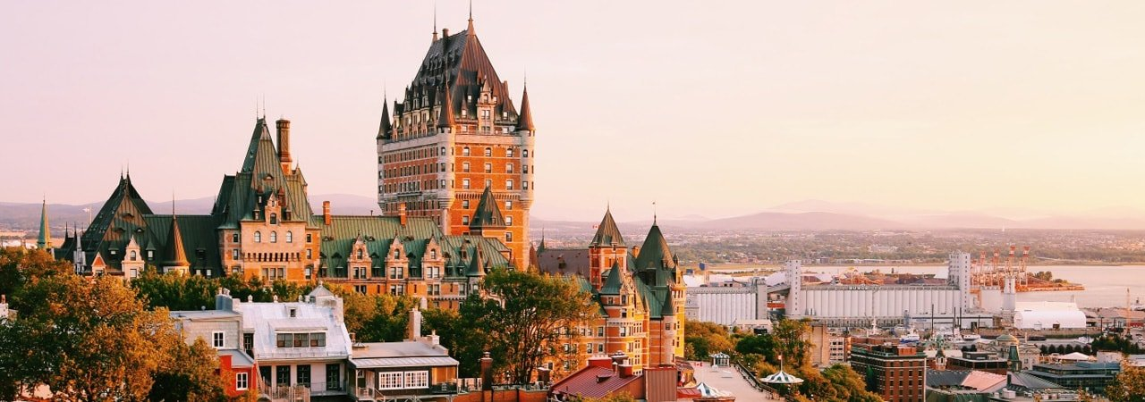Chateau Frontenac in Quebec City skyline