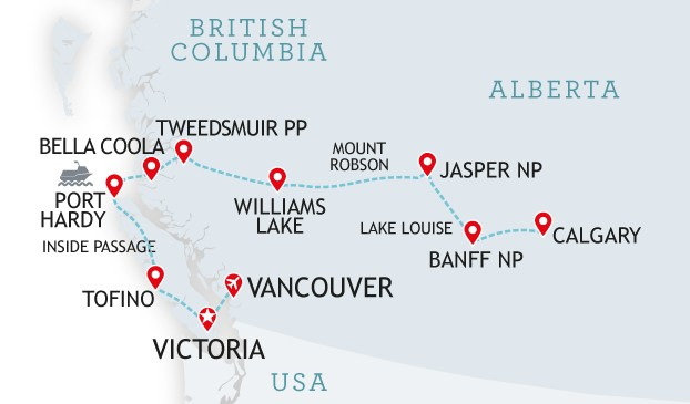 Map Of Canada Vancouver To Calgary.Canada Wildlife Vancouver Island Tour Canadianaffair Com
