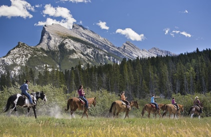 horse-riding in the Rockies