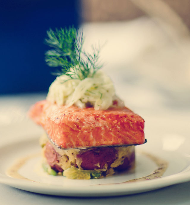 Delicious salmon served on Rocky Mountaineer
